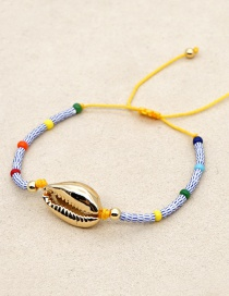 Fashion Blue Natural Shell Gilded Hand-woven Watermelon Beads Bracelet