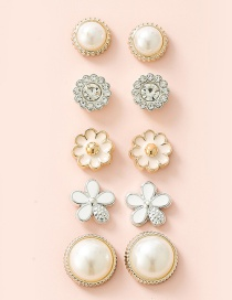 Fashion Flowers White Dripping Pearl Diamond Alloy Fruit Flower Geometric Earring Set