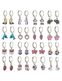 Fashion Color Mixing Animal Oil Dripping Diamond Alloy Earring Set