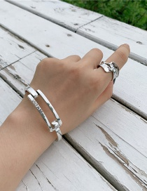Fashion Ancient Silver Do Old Wide Version Buckle Hollow Letter Bracelet