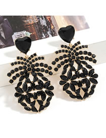 Fashion Golden Hollow Leaf Earrings With Diamonds