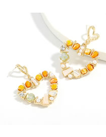Fashion Yellow And White Heart Alloy Inlaid Crystal Hollow Earrings