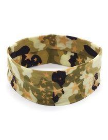 Fashion Five-pointed Star Dark Green Camouflage Print Sports Yoga Wide Brim Headband