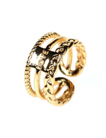 Fashion Ancient Gold Letter Chain Hollow Alloy Wide Edge Ring