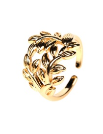 Fashion Ancient Gold Copper Inlaid Zircon Leaf Hollow Open Ring
