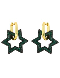 Fashion Green Copper Inlaid Zircon Five-pointed Star Hollow Earrings
