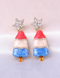 Fashion Color Mixing Oil Drop Christmas Tree Contrast Color Diamond Five-pointed Star Earrings