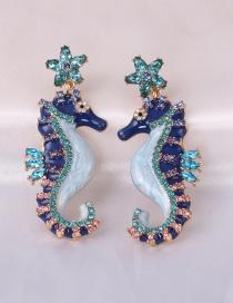 Fashion Blue Diamond-studded Seahorse Earrings