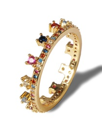 Fashion Color Gold-plated Copper And Diamond Crown Ring