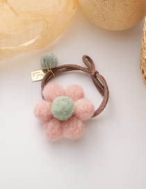Fashion Pink Flower Plush Flower Contrast Color Knotted Elastic Hair Rope