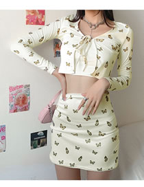 Fashion Yellow Butterfly Print Cardigan High Waist Bag Hip Skirt Suit