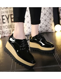 Fashion Black Wedge Lace-up Patent Leather Deep-mouth Shoes