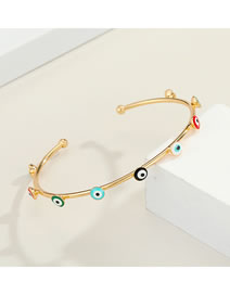 Fashion Gold Color Color Star Eye Eyes Real Gold Plated Diamond Drop Oil Open Bracelet