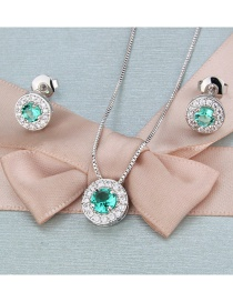 Fashion Platinum-plated Green Zirconium Copper Inlaid Zircon Round Necklace Earrings