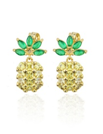 Fashion Platinum Plated Copper Inlaid Zircon Pineapple Earrings