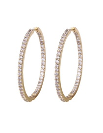 Fashion Gilded Copper Gilded Round Single Row Zircon Earrings