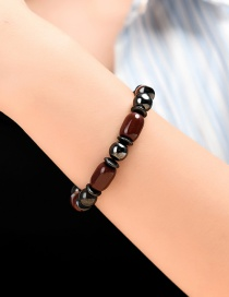 Fashion Black Hematite Resin Geometric Beaded Elastic Bracelet