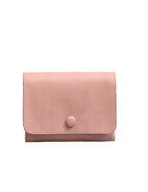 Fashion Pink Flap Solid Color Short Wallet