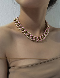 Fashion Pink Aluminum Chain Geometric Drip Oil Thick Chain Necklace