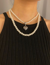 Fashion White K Alloy Pearl Peach Heart Multilayer Necklace