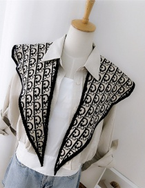 Fashion P Black Knitted Wool Letter Double-sided Small Shawl Scarf