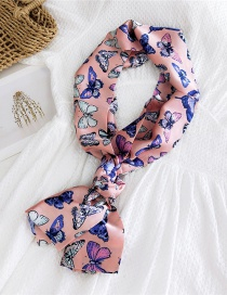 Fashion Butterfly Specimen Powder Narrow And Long Knotted Satin Printed Small Silk Scarf