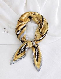 Fashion Harness Yellow Pleated Silk Butterfly Stripe Print Geometric Small Square Scarf
