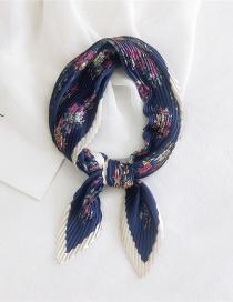 Fashion Flowers Navy Blue Background Pleated Cashew Print Imitation Silk Small Scarf