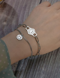 Fashion Silver Smiley Face Round Brand Stitching Chain Stainless Steel Multi-layer Bracelet
