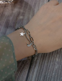 Fashion Silver Five-pointed Star Titanium Steel Star And Moon Stitching Multi-layer Bracelet