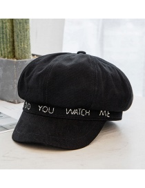 Fashion Black Letter Embroidery Stitching Octagonal Hat