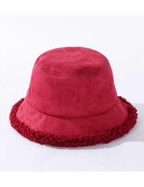 Fashion Red Suede Stitching Thick Flat Top Fisherman Hat