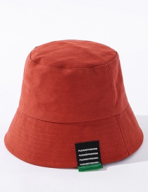 Fashion Brick Red Solid Color Label Letter Stitching Fisherman Hat