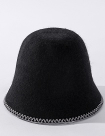 Fashion Black Cashmere Embroidered Lace Solid Color Fisherman Hat