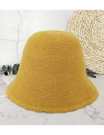 Fashion Yellow Lace Solid Color Knitted Fisherman Hat