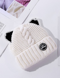 Fashion White Plush Padded Patch Letter Knitted Cat Ear Woolen Hat