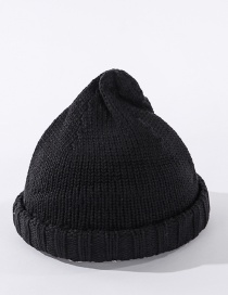 Fashion Black Solid Color Knitted Landlord Hat