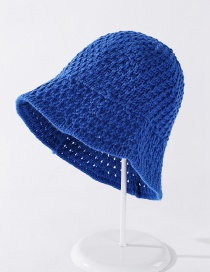 Fashion Sapphire Imitation Hand Crochet Knitted Hollow Solid Color Ear Protection Fisherman Hat