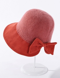 Fashion Brick Red Cashmere Stitching Knitted Bowknot Solid Color Fisherman Hat