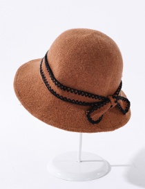 Fashion Caramel Knitted Bow Wool Fisherman Hat