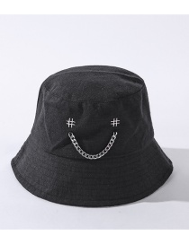 Fashion Black Chain Smiley Alloy Embroidered Fisherman Hat