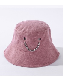 Fashion Pink Chain Smiley Alloy Embroidered Fisherman Hat