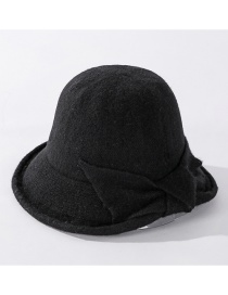 Fashion Black Cashmere Bow Solid Color Fisherman Hat
