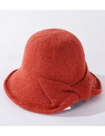 Fashion Orange Cashmere Bow Solid Color Fisherman Hat