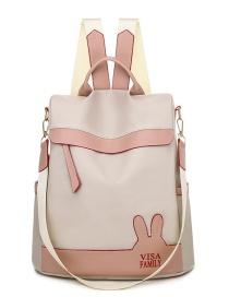 Fashion Creamy-white Oxford Cloth Waterproof Stitching Contrast Letter Backpack