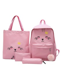 Fashion Pink Canvas Expression Printed Backpack Four-piece Set