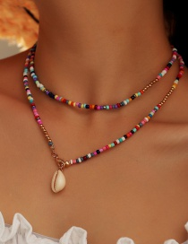 Fashion Color Mixing Rice Beads Shell Beaded Alloy Necklace