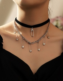 Fashion Silver Brooch Alloy Multilayer Necklace