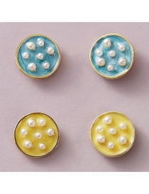 Fashion Color Mixing Button Drop Oil Pearl Round Alloy Earring Set