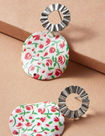 Fashion Color Mixing Green Leaf Flower Alloy Pleated Round Earrings